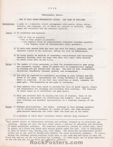 AUCTION - Drugs - Timothy Leary's I.F.I.F. (International Federation for Internal Freedom) 2-Sided Handbill - Mexico - Near Mint Minus