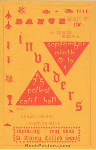 AUCTION - Invaders - Sharon Russell 1966 Handbill - California Hall - Condition - Near Mint