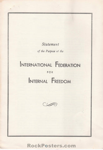 AUCTION - Drugs - Statement of Purpose of the International Federation for Internal Freedom 1963 Booklet - Near Mint Minus