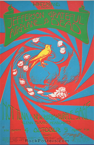 AUCTION - 1970 - Grateful Dead Jefferson Airplane Handbill - Carousel Ballroom - David Singer Signed - Near Mint