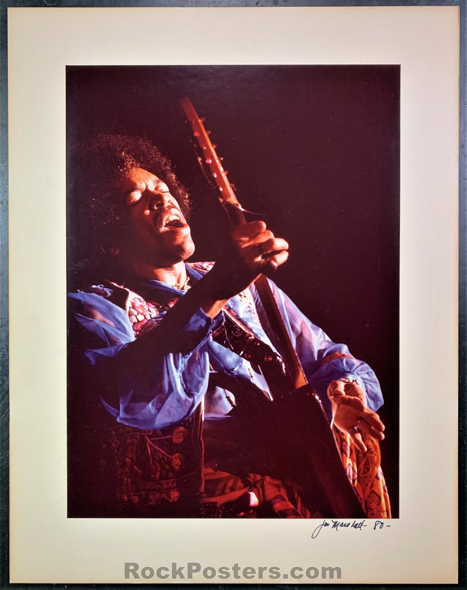 Jimi Hendrix - Live 1960s Concert Photograph - Jim Marshall Signed - Excellent