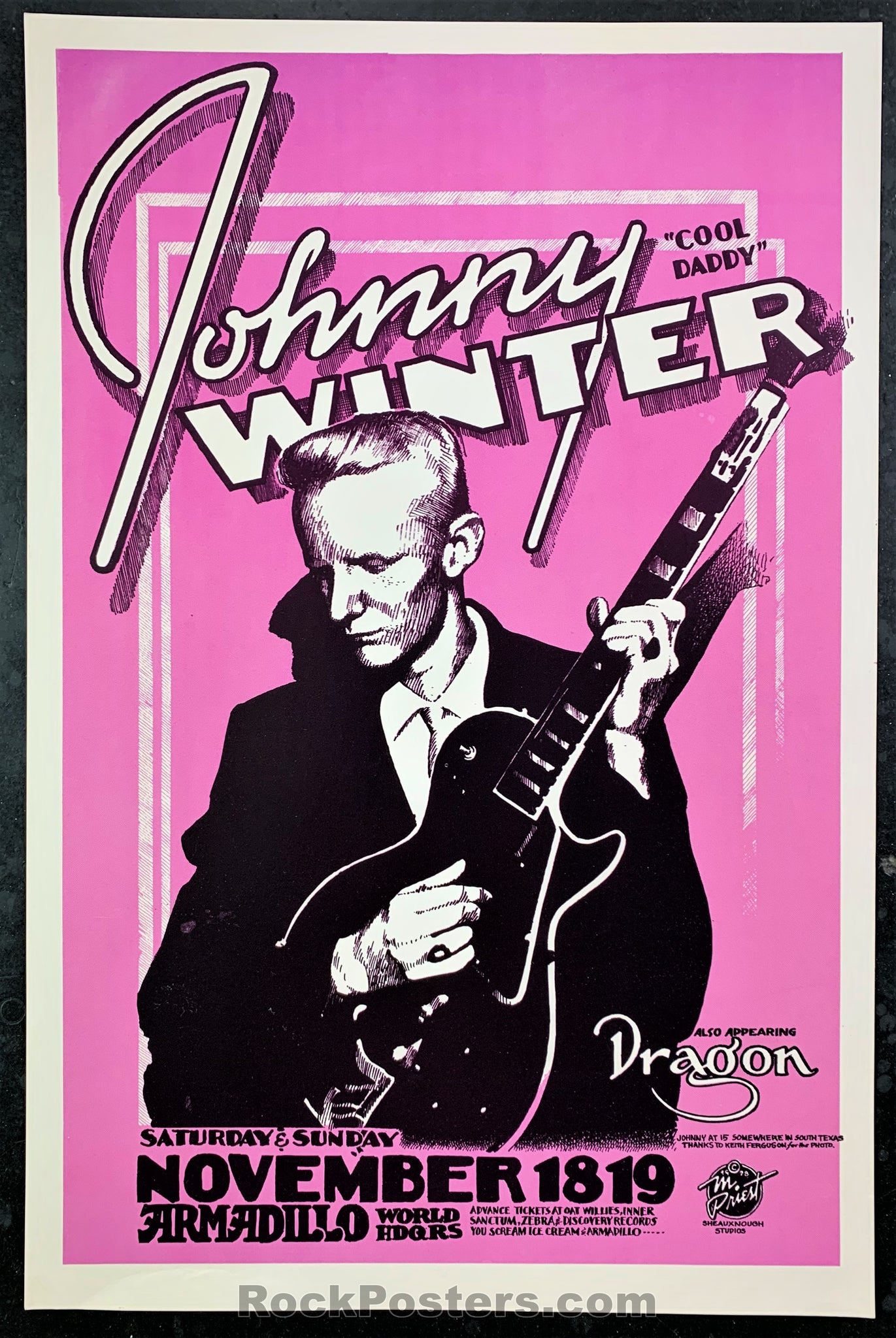 AUCTION - Johnny Winter 1978 Texas Poster - Armadillo - Condition - Near Mint Minus
