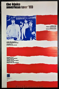 AUCTION - Kinks Rare 1969 US Tour Poster - Grande Ballroom - Condition - Excellent
