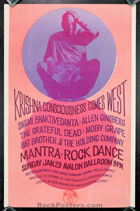 AUCTION - AOR 2.18 - Grateful Dead Allen Ginsberg 1967 Original Poster - Avalon Ballroom - Condition - Near Mint Minus