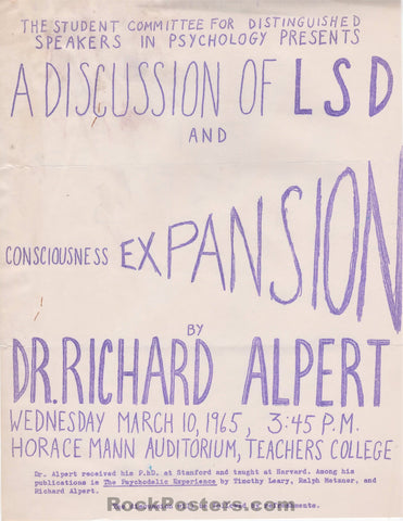 AUCTION - Drugs - A Discussion of LSD and Consciousness Expansion by Dr. Richard Alpert Handbill - Excellent