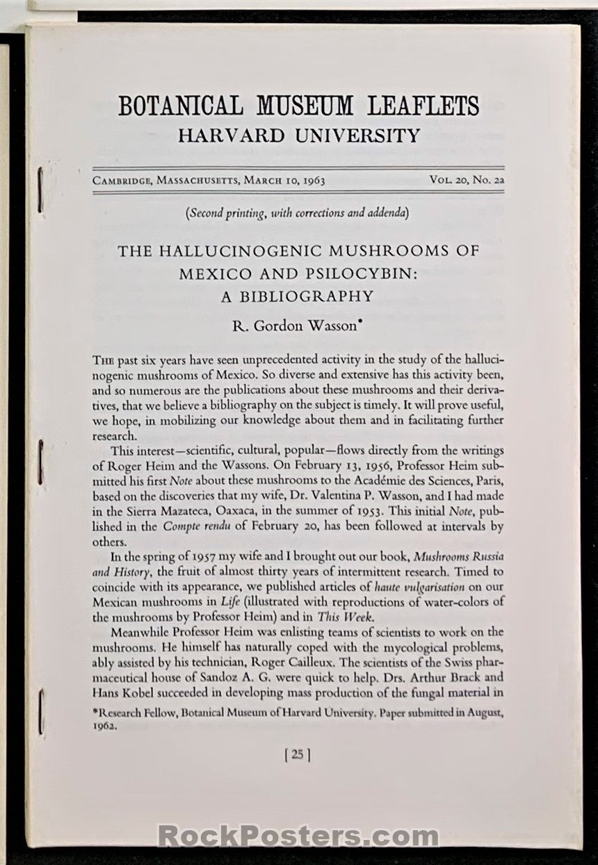 AUCTION - Drugs - Mushrooms Botanical Museum Leaflets 1963 Harvard  Booklet - Condition - Excellent