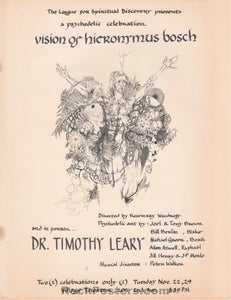 AUCTION - Drugs - Timothy Leary LSD 1966 New York Psychedelic Celebration Handbill - Condition - Excellent