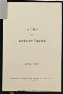 AUCTION - LSD - Tim Leary Richard Alpert - Politics of Consciousness Expansion 1963 Booklet - Condition - Near Mint
