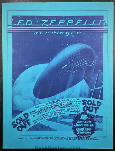 AUCTION - Led Zeppelin - 1977 Poster -  Randy Tuten - Oakland Stadium - Excellent