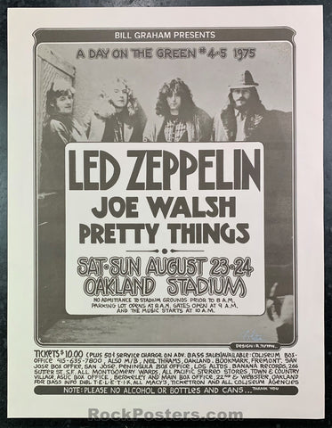 AUCTION - Led Zeppelin Joe Walsh - 1975 Poster - Randy Tuten Signed - Oakland Coliseum - Near Mint Minus