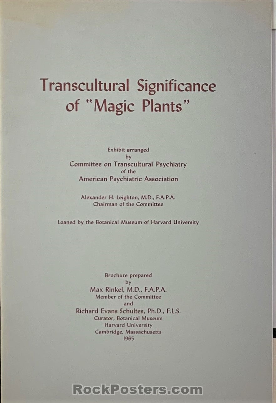 "AUCTION - Drugs - Transcultural Significance of ""Magic Plants"" 1965 Harvard U. Brochure - Cambridge - Condition - Near Mint"