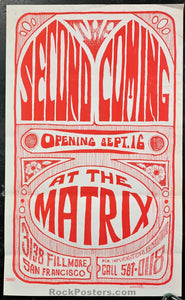 AUCTION - Second Coming 1966 Handbill - The Matrix - Condition - Excellent