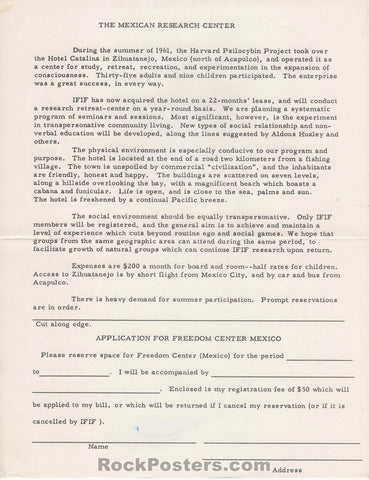 AUCTION - Drugs - The Mexican Research Center 1963 Application - Near Mint Minus