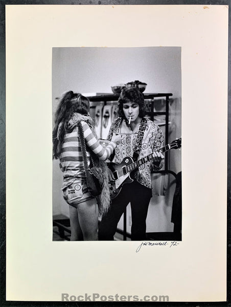 Rolling Stones - Mick Taylor 1972 Backstage Photograph - Jim Marshall Signed - Excellent