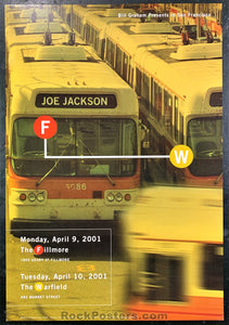 NF-453 - Joe Jackson Poster - Fillmore Auditorium - Condition - Near Mint Minus