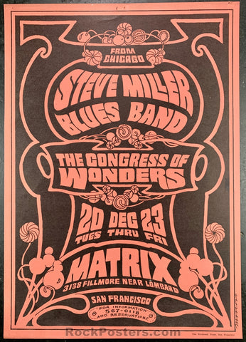 Neon Rose 0 - Steve Miller Blues Band Poster - The Matrix  - Condition - Excellent