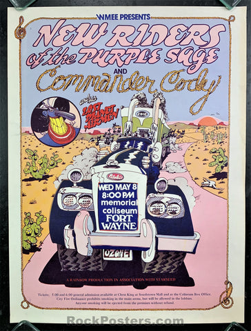 AUCTION -  AOR-4.197 - New Riders Comm. Cody - 1974 Poster - Memorial Coliseum - Near Mint Minus