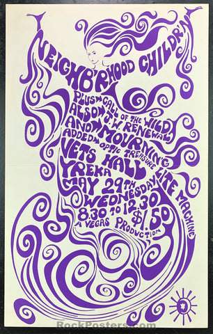 AUCTION - Neighborhood Children - 1968 Yreka, CA Concert Poster - Veterans Hall - Condition - Excellent