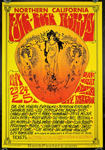 AUCTION - Northern California Folk Rock Festival  - Jimi Hendrix Led Zeppelin 1969 Fillmore Era Poster - Condition - Near Mint