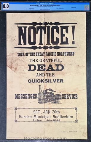 AUCTION - AOR3.104 -  Grateful Dead Notice 1968 Poster - Eureka Auditorium - Condition - CGC Graded 8.0