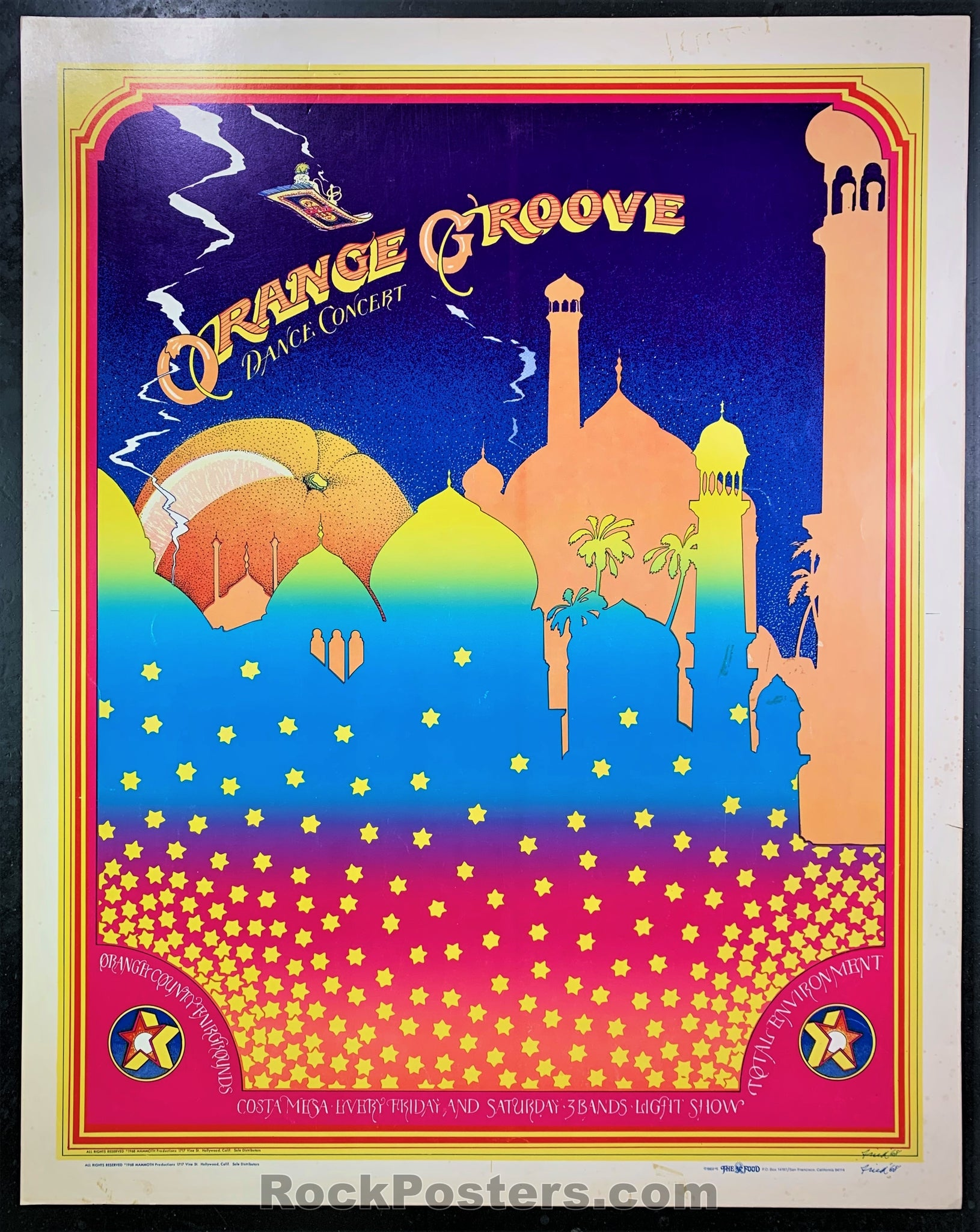 AUCTION - AOR 3.64 - Orange Groove 1968 - Bob Fried Poster - Costa Mesa - Condition - Excellent