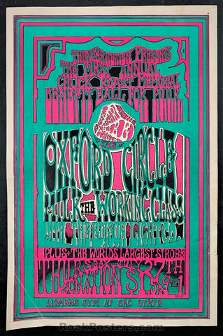 AUCTION -  Oxford Circle -  Psychedelic 1967 Sacramento Concert Poster - Sac. State - Condition - Very Good