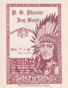 AUCTION - P.H. Phactor Jug Band 1967 Handbill - The Matrix - Excellent