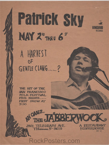 AUCTION - Jabberwock - Folk Concert - 1966 Handbill - Berkeley - Excellent