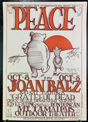 "AUCTION - AOR 2.325 - Grateful Dead Quicksilver ""Peace Pooh"" 1966 Mouse Signed Poster - Mt. Tamalpais - Condition - Near Mint Minus"