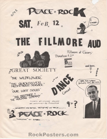 AUCTION - AOR- Pg.14R - Peace Rock One Great Society 1966 Handbill - Fillmore Auditorium - Good