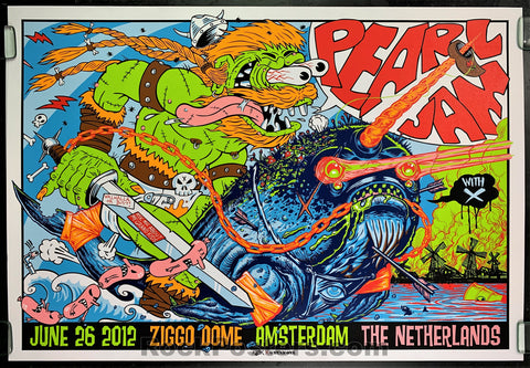AUCTION - Kozik - Pearl Jam Amsterdam '12 - Show Edition Silkscreen - Condition - Near Mint