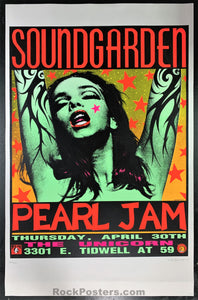 AUCTION - Pearl Jam - Soundgarden '92 Green Lady Kozik Silkscreen - Houston - Condition - Excellent