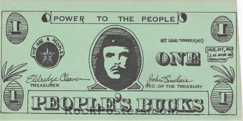 AUCTION - Detroit - John Sinclair Eldridge Cleaver People's Buck Barter Bill - Near Mint