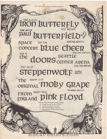 AUCTION - Pink Floyd Doors -  Seattle 1968  Two-Sided Concert Handbill -  Eagles Auditorium - Condition - Very Good