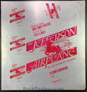 AUCTION -  BG 1  -  Jefferson Airplane Original Printing Plate - Fillmore Auditorium - Condition - Excellent