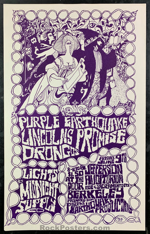AUCTION - Psychedelic - Berkeley Purple Earthquake 1967 Poster - Jefferson Auditorium - Condition - Near Mint