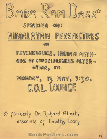 AUCTION - Drugs - Baba Ram Dass Speaking on Himalayan Perspectives on Psychedelics - Handbill - Very Good