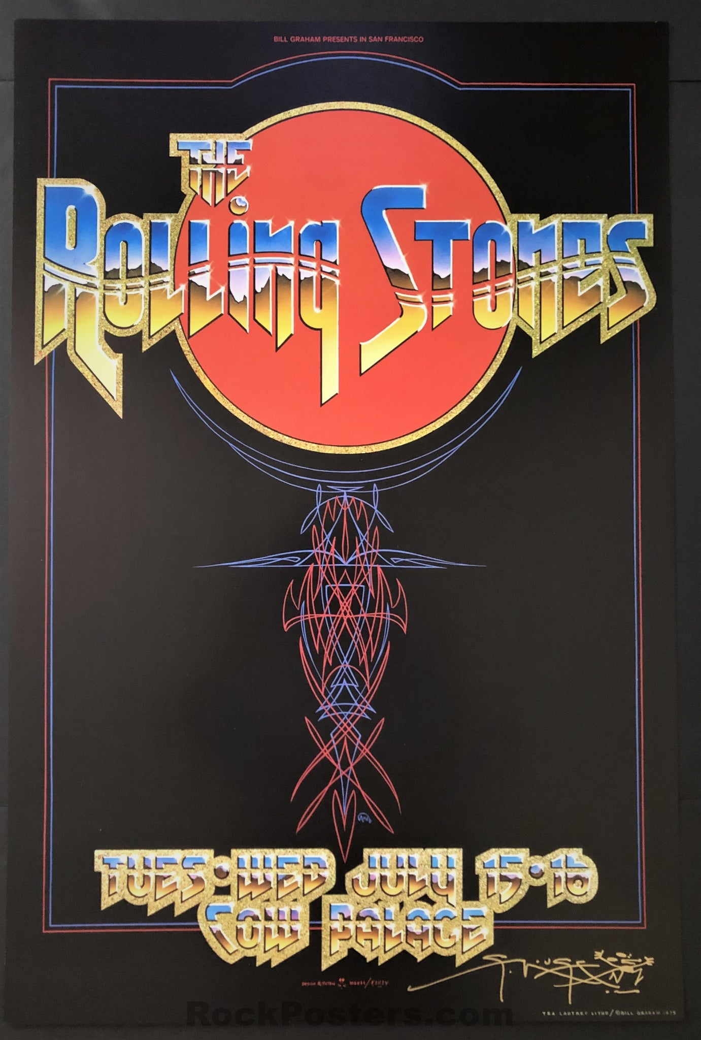 AUCTION - AOR-4.41 - Rolling Stones - 1975 Poster - Stanley Mouse Signed - San Francisco - Mint