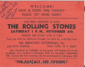 AUCTION - Rolling Stones - Original 1965 New York City Handbill - Academy of Music - Condition - Excellent