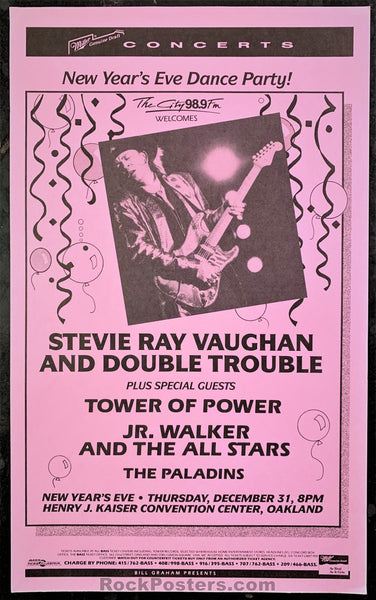 AUCTION - Stevie Ray Vaughan - New Years 1987/1988 Poster - Henry J.Kaiser Convention Center - Condition - Near Mint