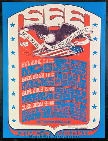 AUCTION - AOR Pg. 245 - 1967 Grimshaw Signed MC5 Michigan Poster - See Theater - Condition - Near Mint Minus