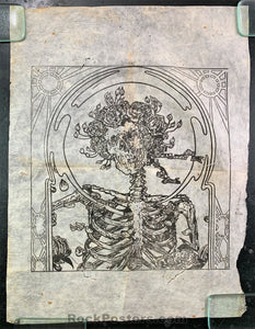 AUCTION - FD26 - Skelton & Roses - Nepalese Rice Paper Woodcut - Circa 1974 - Condition - Good