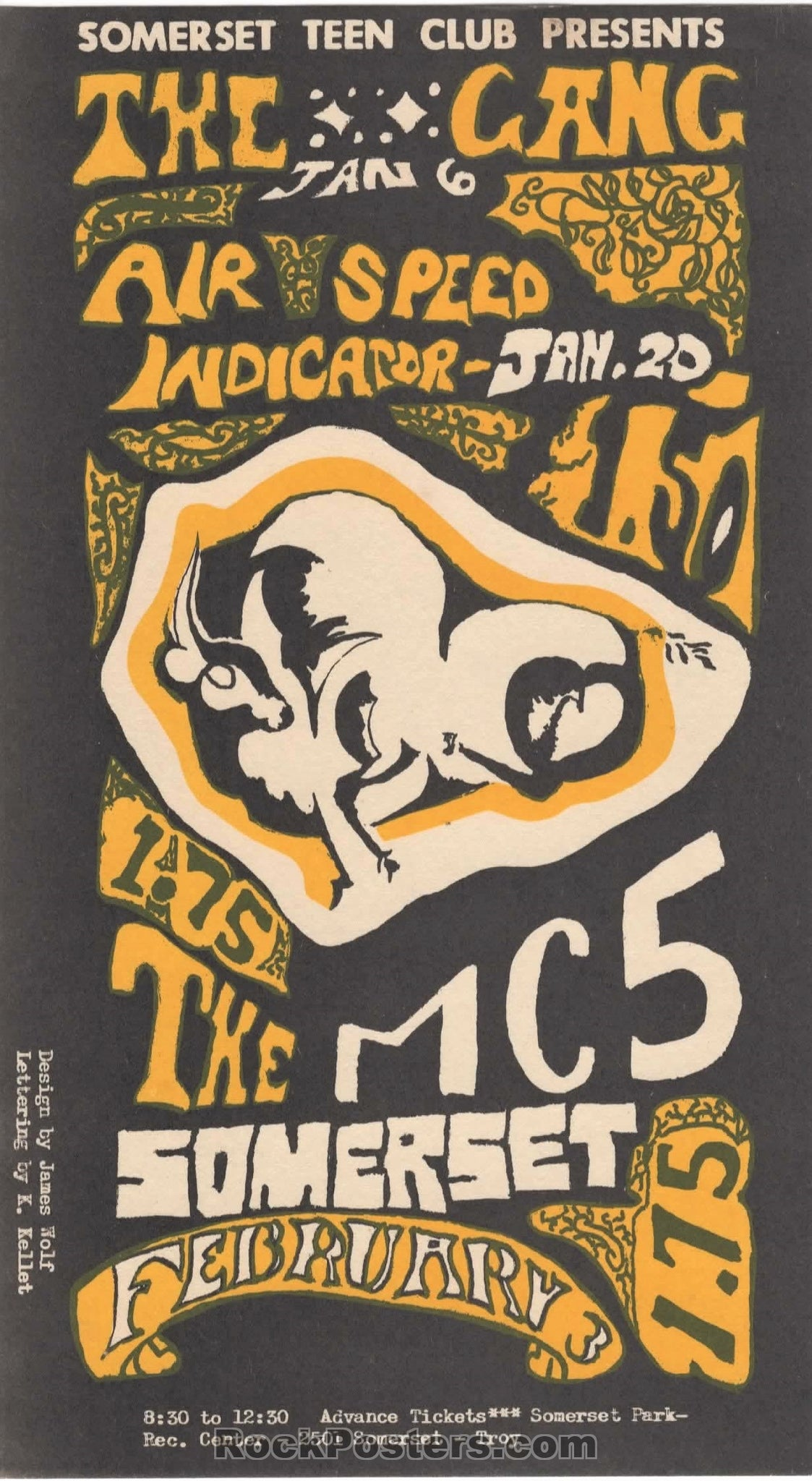 AUCTION - MC5 - 1968 Michigan Handbill - Condition - Near Mint Minus