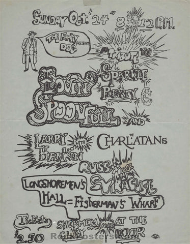 AUCTION - AOR2.11 - Tribute to Sparkle Plenty Lovin Spoonful Handbill - Longshoremen's Hall - Condition - Good