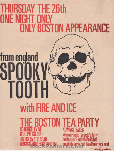 AUCTION - Spooky Tooth 1968 Handbill - Boston Tea Party - Excellent