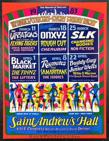 AUCTION - AOR4.191 - Gary Grimshaw Signed 1983 Concert Poster - St. Andrews Hall - Condition - Near Mint Minus
