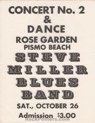 AUCTION - Steve Miller - Original 1968 Pismo Beach  Handbill - Rose Garden - Condition - Excellent
