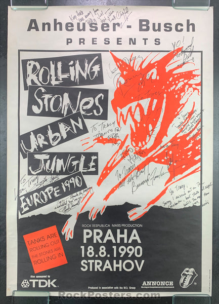 AUCTION - Rolling Stones   - Band Signed European Poster - Prague - Condition - Very Good