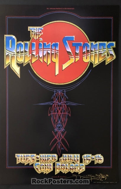 AUCTION - Rolling Stones 1975 Poster - Stanley Mouse Signed - Cow Palace - Mint