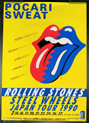 AUCTION - Rolling Stones - 1990 Steel Wheels Tour Promo  Poster - Korakuen Dome - Condition - Excellent